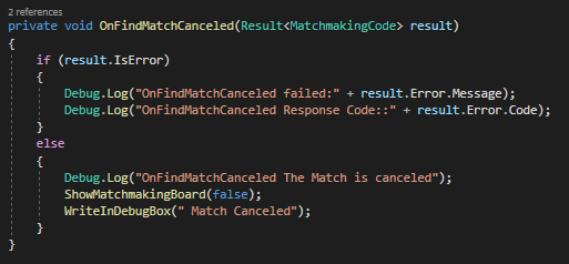 Callback to Cancel Matchmaking on Your Game