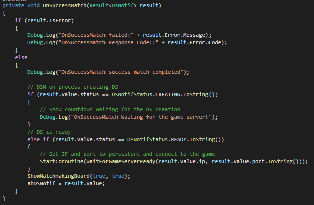 Adding Callback to Dedicated Servers on Your Game's Matchmaking System