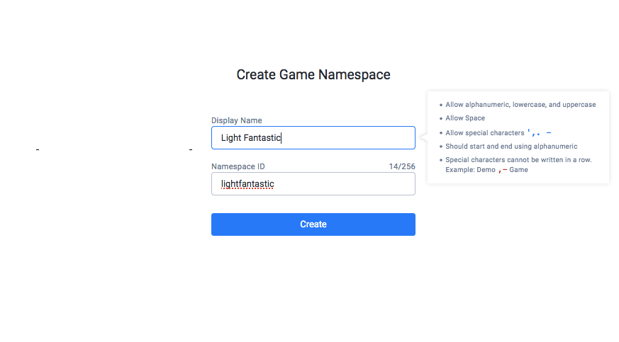 Creating Game Namespace