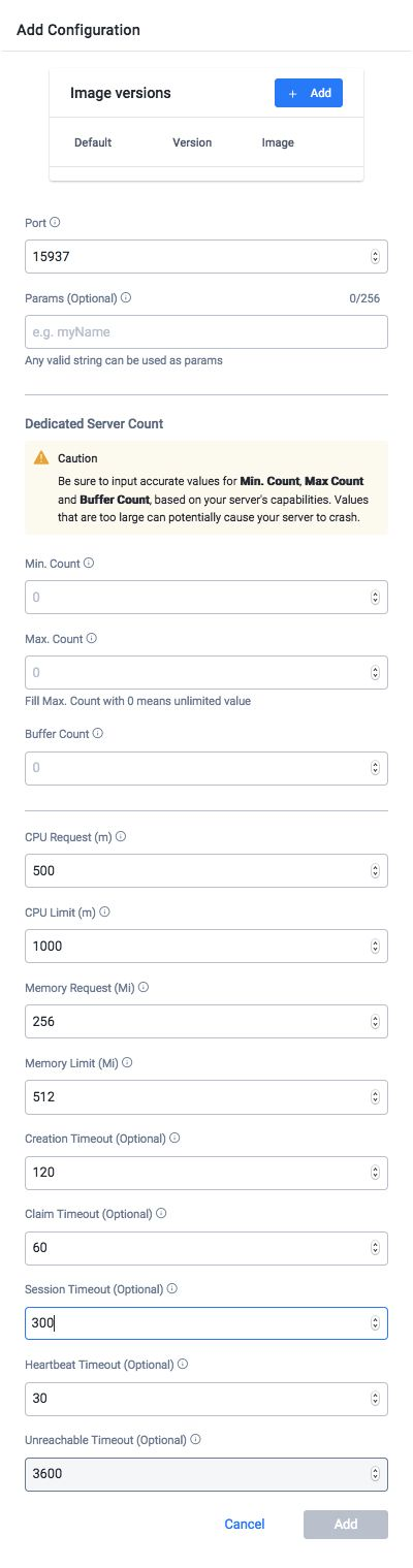 Adding Configurations to Game Dedicated Servers